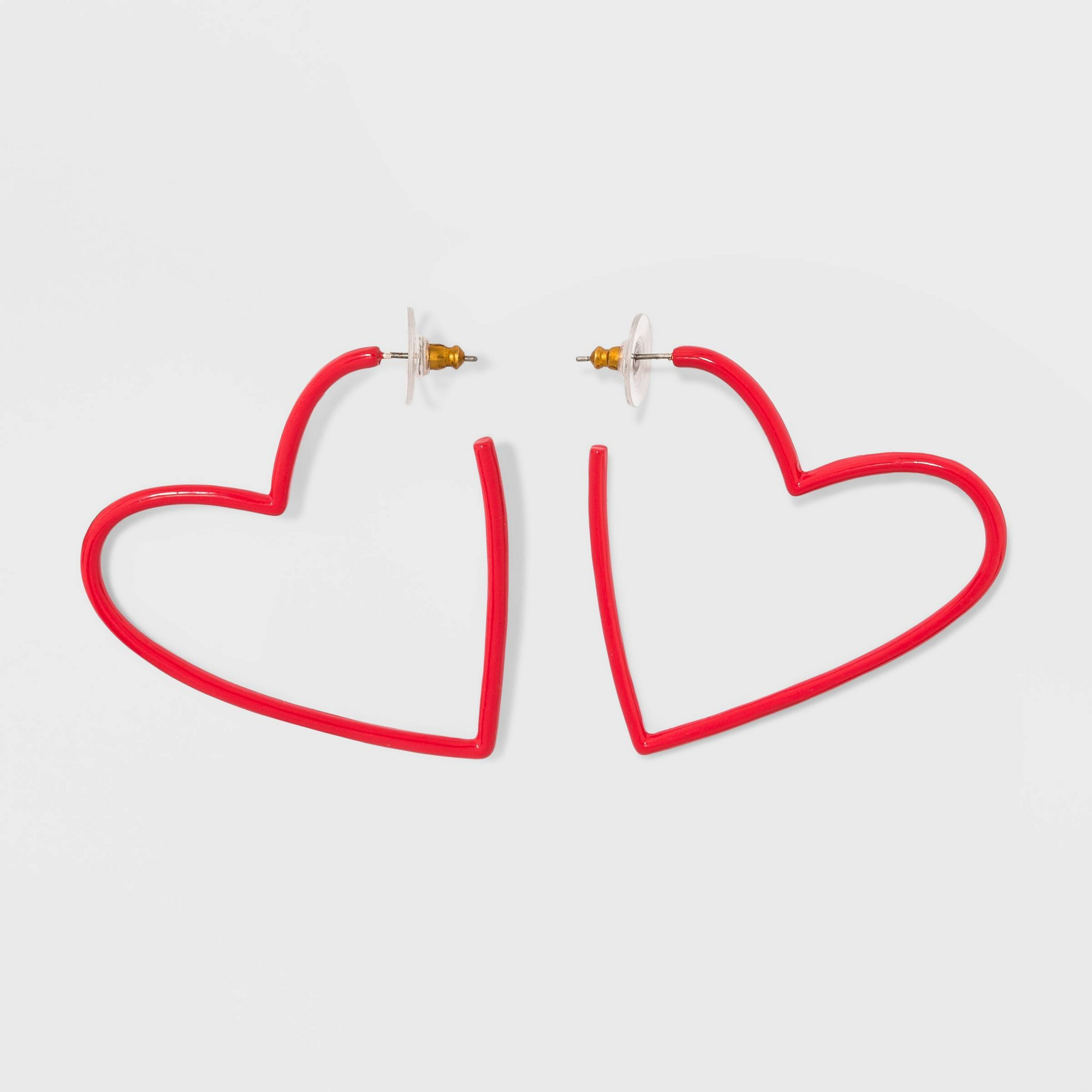 Sugarfix by BaubleBar Coated Heart Hoop Earrings - Red, Girl's