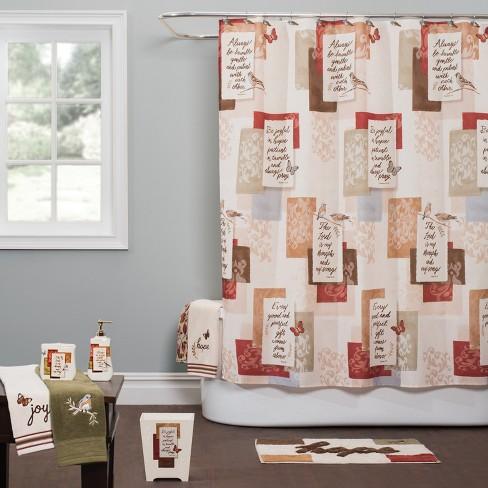 Faithful Birds Shower Curtain Rust