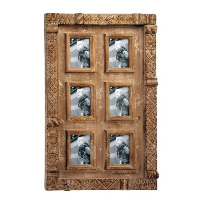 """24"""" x 38"""" Antique Carved Natural Wood Wall Photo Collage Wall Decor with 6 Picture Frames Brown - Olivia & May"""