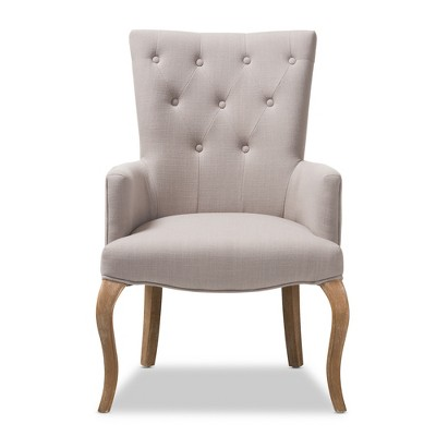 Ordinaire Clotille French Provincial Fabric Upholstered Oak Lounge Chair Beige    Baxton Studio : Target