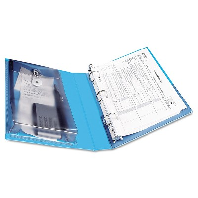 "Avery Mini Protect & Store View Binder w/Round Rings 8 1/2 x 5 1/2 1"" Cap Blue 23014"