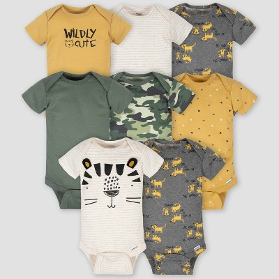 Gerber Baby Boys' 8pk Tiger Onesies - White/Yellow 0-3M
