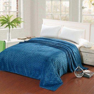 Plazatex Leaf Etched Jacquard Micro Plush Bed Throw Blanket Blue