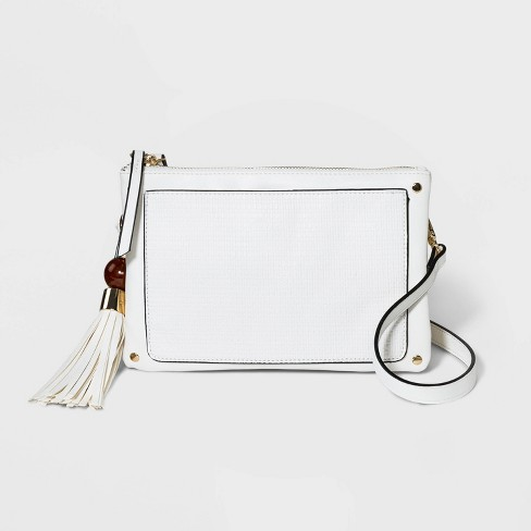 VR NYC Triple Woven Crossbody Bag with Stud Trim - White - image 1 of 4