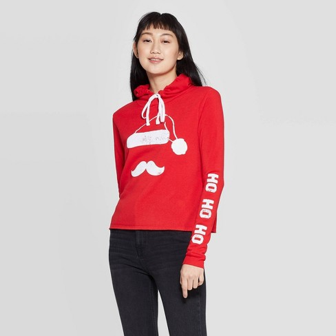 Women's Santa Hooded Sweatshirt - Modern Lux (Juniors') - Red - image 1 of 2