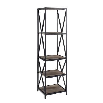 "61"" Urban Industrial X Side Metal and Wood Bookshelf - Saracina Home"