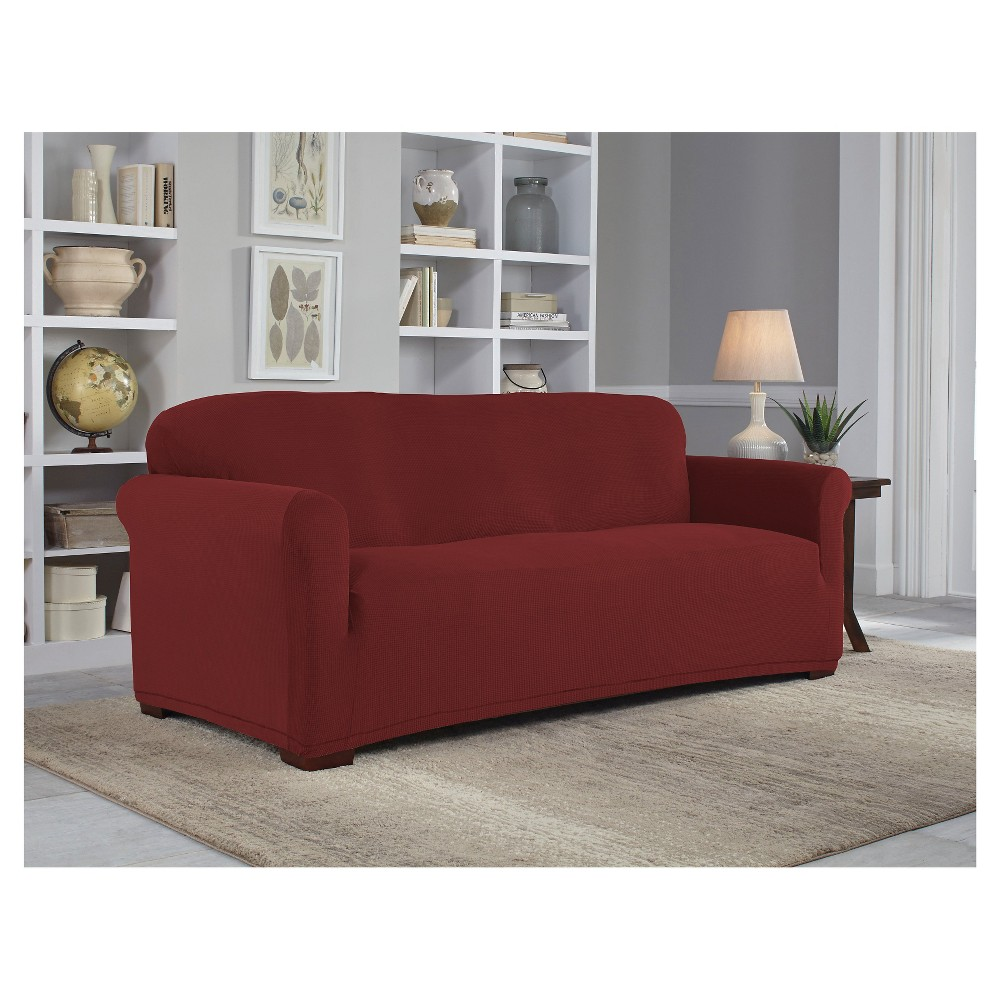 Garnet (Red) Stretch Grid Sofa Slipcover - Serta