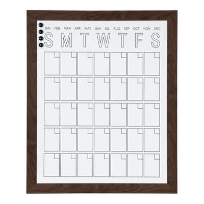 """27"""" x 33"""" Beatrice Vertical Framed Magnetic Dry Erase Monthly Calendar Walnut Brown - DesignOvation"""