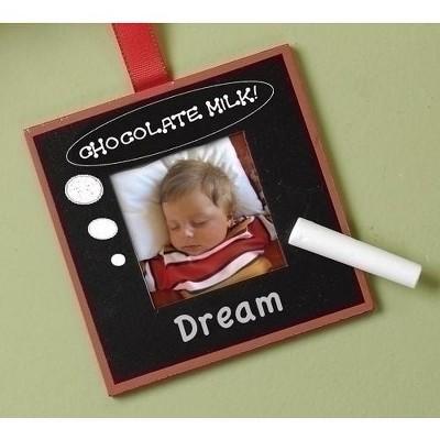 "Roman 4"" Chalk Board Photo Picture Frame Christmas Ornament - Black"