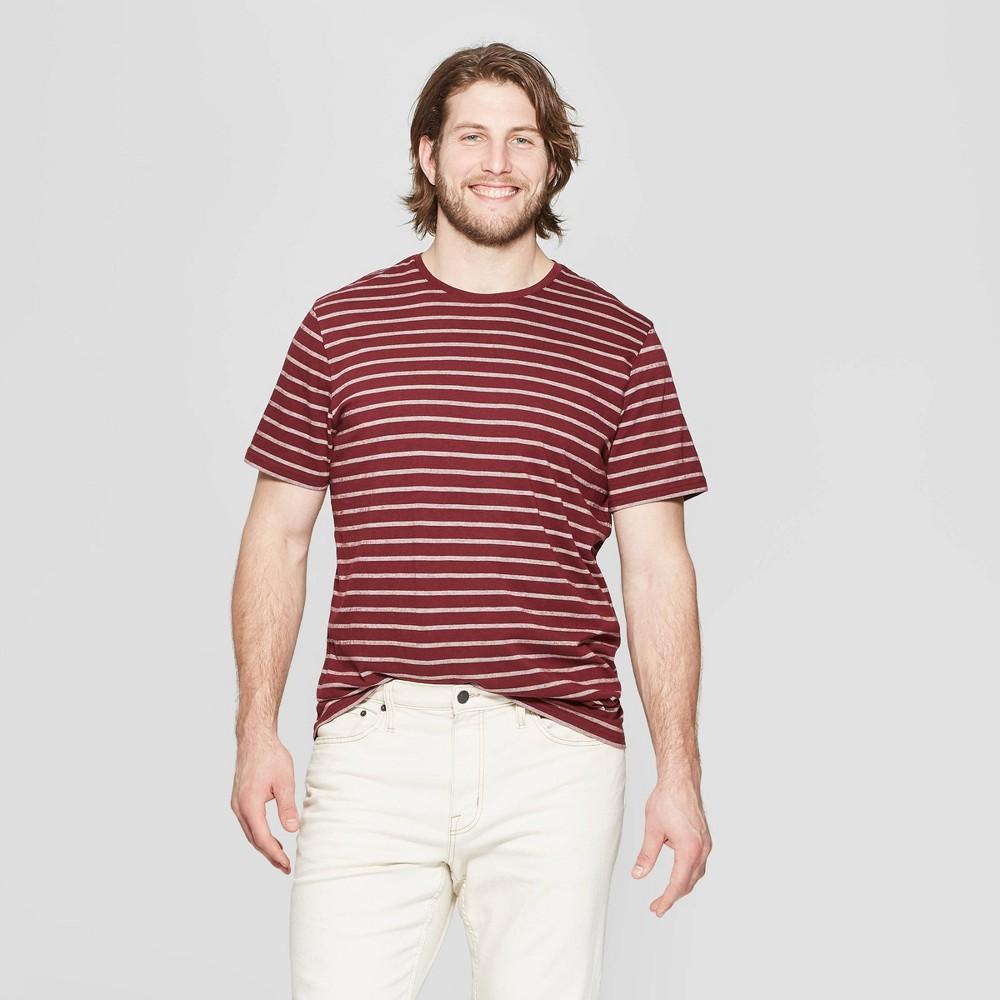 Men's Tall Jacquard Standard Fit Short Sleeve Novelty T-Shirt - Goodfellow & Co Red Velvet MT