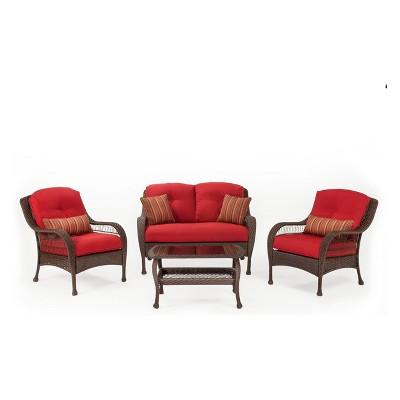 La Z Boy Outdoor Bristol 4pc Wicker Outdoor Seating Set With Essence Garnet  Cushion