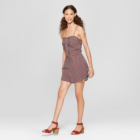 eab22f4e10b2d Women s Strappy Tie Front Striped Romper with Side Ties - Xhilaration™