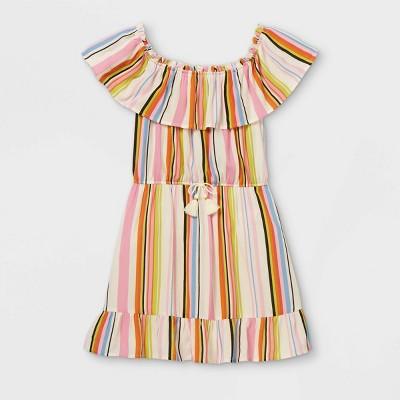 Girls' Ruffle Off the Shoulder Short Sleeve Dress - art class™
