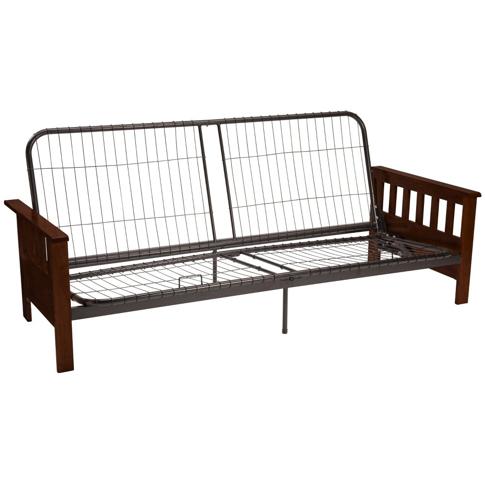 Mission Futon Sofa Sleeper Bed Frame - Toasted Walnut Wood Arms - Queen Size - Sit N Sleep