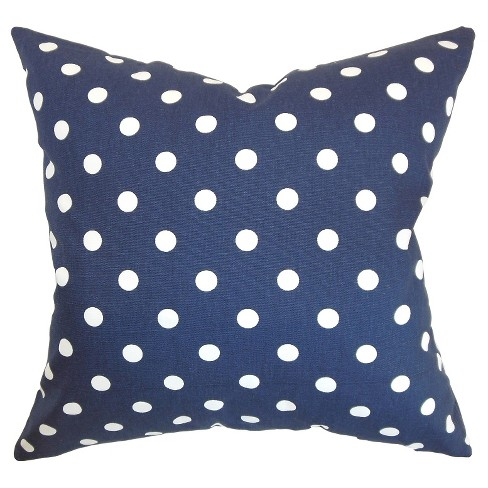 "Blue Polka Dots Throw Pillow (18""x18"") - The Pillow Collection - image 1 of 2"