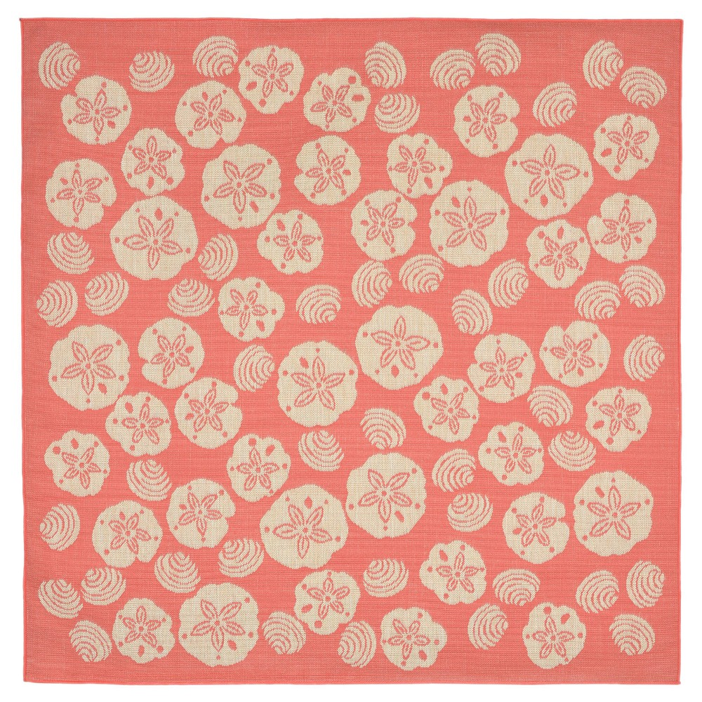 Terrace Indoor/Outdoor Shell Toss Coral Square Rug 7'10 Orange - Liora Manne