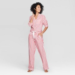 Women's Striped Perfectly Cozy Flannel Pajama Set - Stars Above™ Red