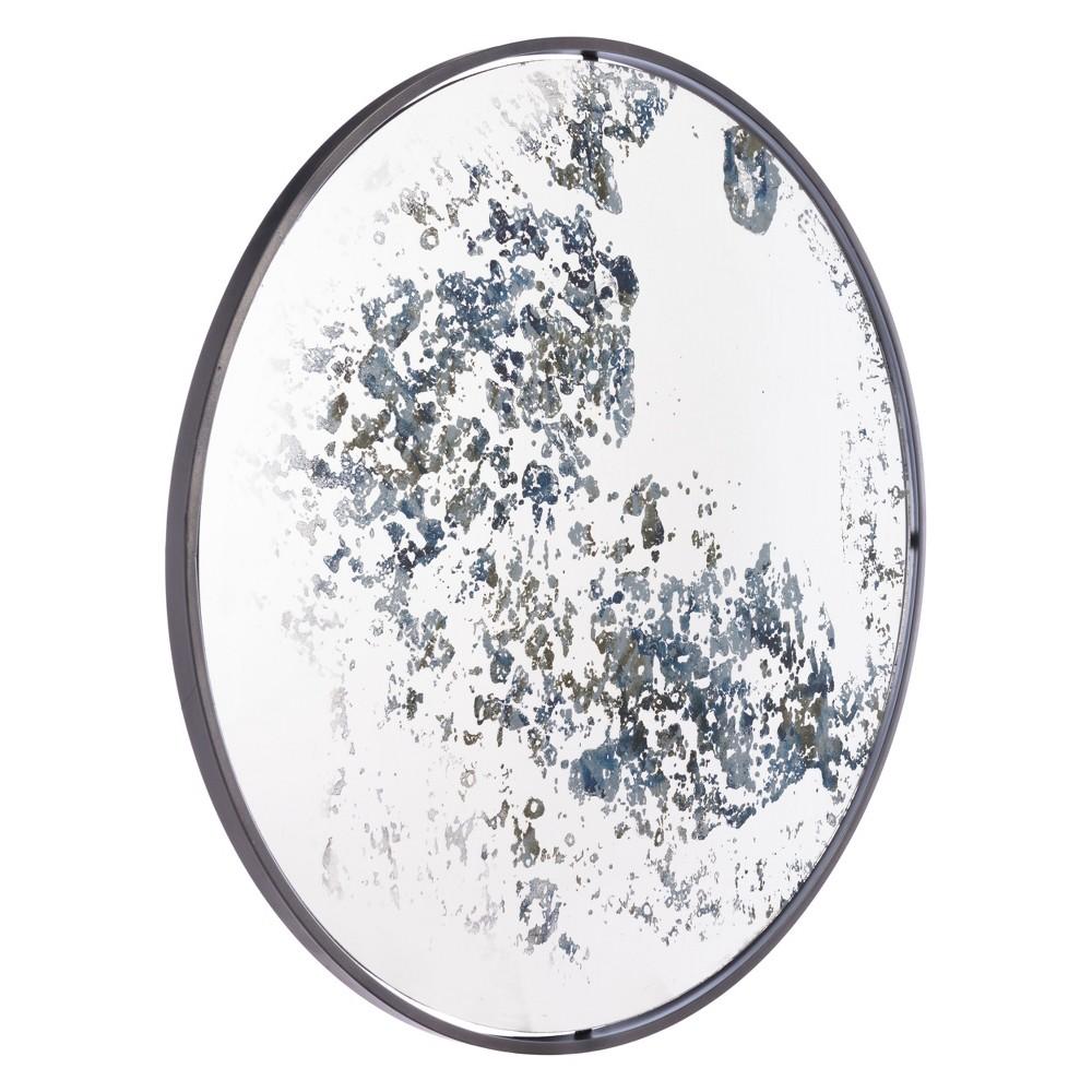 ZM Home 30 Vintage Modern Round Mirror Blue