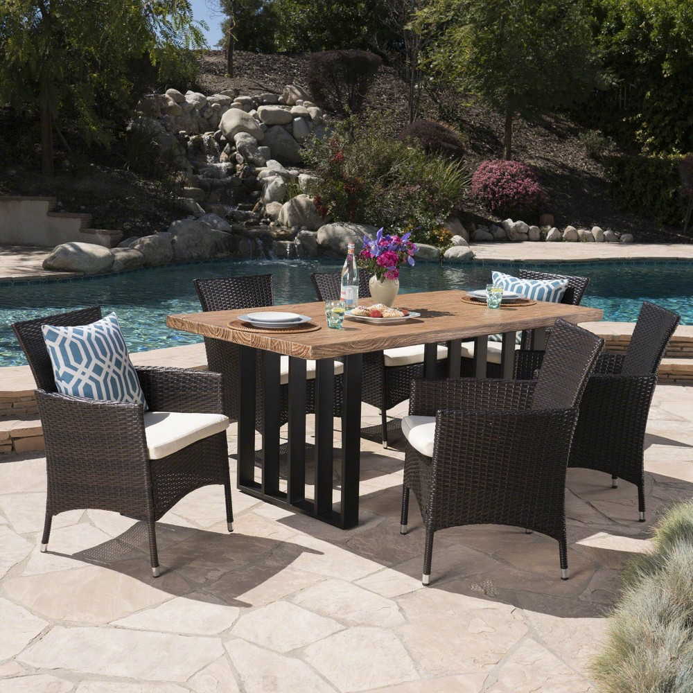 Brenner 7pc Wicker and Light Weight Concrete Dining Set - Brown/Beige - Christopher Knight Home