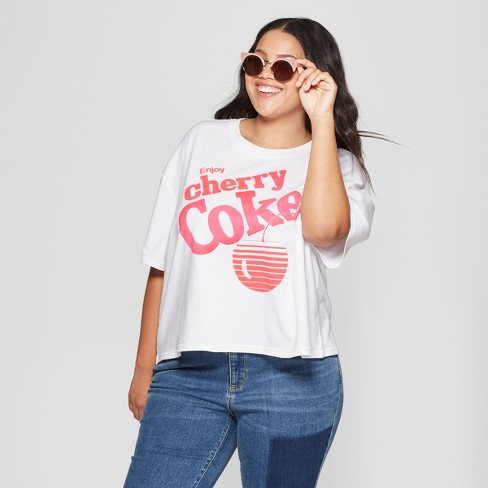 3ccf900015a Women s Coca-Cola Plus Size Short Sleeve Cherry Coke Cropped Graphic T-Shirt  (Juniors ) White