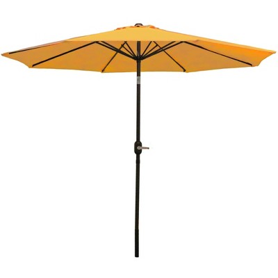 Sunnydaze Outdoor Aluminum Patio Table Umbrella with Polyester Canopy and Push Button Tilt and Crank - 9' - Gold