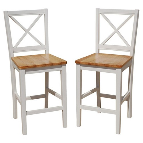 '24'' Virginia Counter Stool Hardwood/White (Set of 2) - TMS'