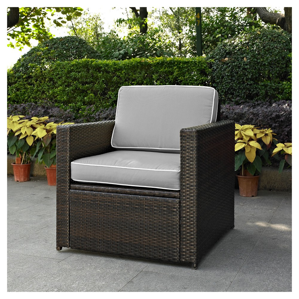 Palm Harbor Outdoor Wicker Arm Chair In Brown with Gray Cushions - Crosley, Brown/Gray