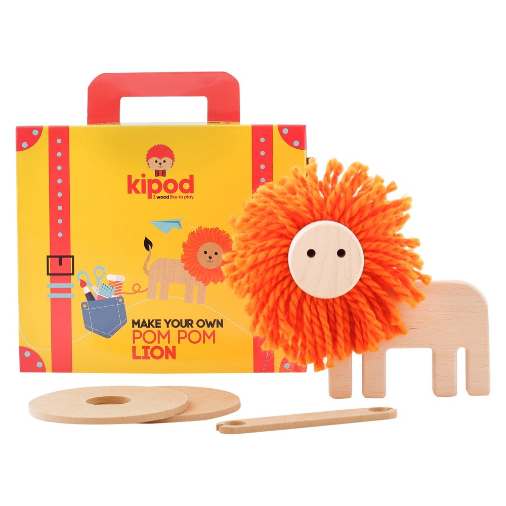 Kipod Create Your Own Pom Pom Lion Wooden Toy