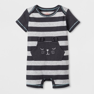 Baby Boys' Short Sleeve Stripe Romper with Critter Face Kangaroo Pocket - Cat & Jack™ Gray 0-3M