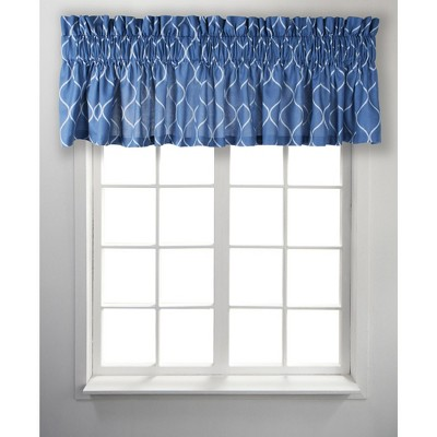 Ellis Curtain Trellis Unlined Stylish Window Tailored Valance - 85 x 12, Blue