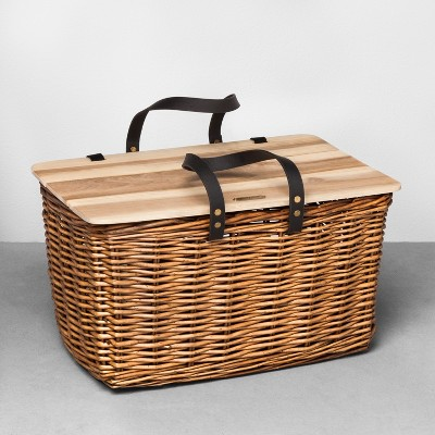 Willow Picnic Basket with Wooden Lid Natural - Hearth & Hand™ with Magnolia