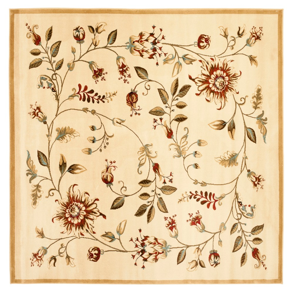 Ivory Floral Loomed Square Area Rug 6'7