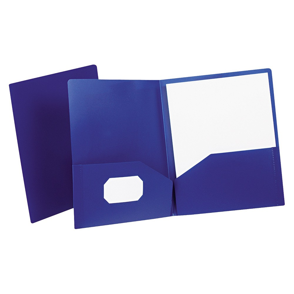 Oxford Poly Twin-Pocket Folder, Holds 100 Sheets, Opaque Dark Blue, Purple