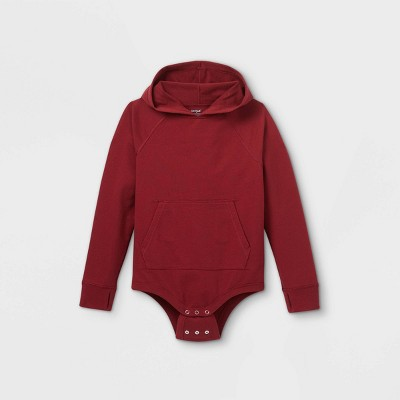 Boys' Adaptive Hooded Adjustable Bodysuit - Cat & Jack™ Burgundy XS