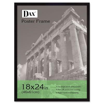 Dax Flat Face Wood Poster Frame Clear Plastic Window 18 x 24 Black Border 2860W2X