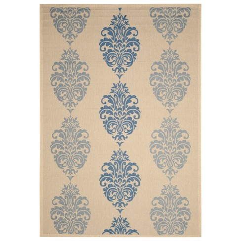Orly Rectangle 9' X 12' Outdoor Rug - Natural / Blue - Safavieh® - image 1 of 1