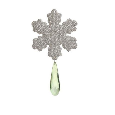 """Raz Imports 6"""" Snowflake with Pendant Jewel Christmas Ornament - Silver/Green - image 1 of 1"""