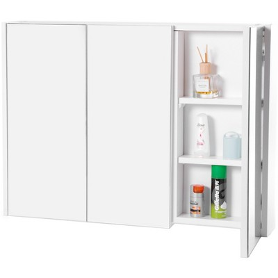 Basicwise 3 Shelves White Wall Mounted Bathroom/ Powder Room Mirrored Door Vanity Cabinet Medicine Chest