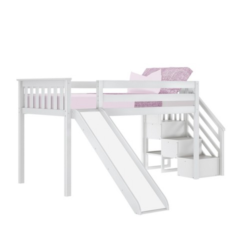Max Lily Twin Low Loft Bed With Stairs And Slide Target