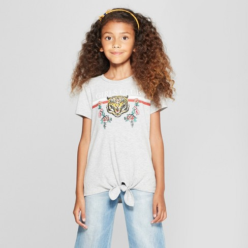 Girls' Graphic Front Tie Short Sleeve T-Shirt - art class™ Gray - image 1 of 3