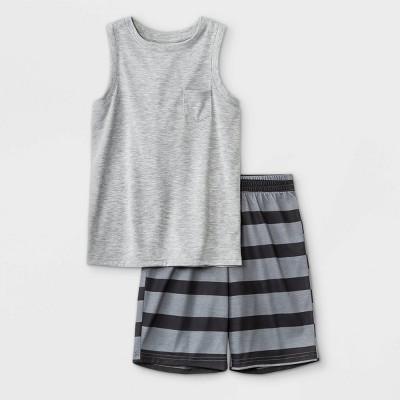Boys' 2pc Striped Shorts Pajama Set - Cat & Jack™ Heather Gray