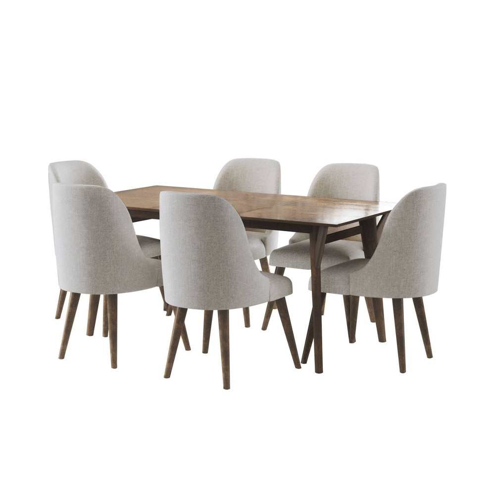 Image of 7Pc Aurora Mid Century Wooden Dining Set Brown - Abbyson Living