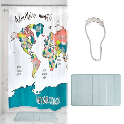 Adventure Map Shower Curtain with Memory Foam Mat and Ring Bundle - iDESIGN