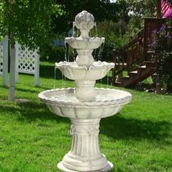 "52"" 4-Tier Outdoor Water Fountain with Fruit Top - White - Sunnydaze Decor"