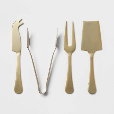 4pc Stainless Steel Cheese Serving Set Gold - Threshold™