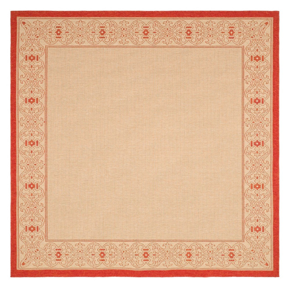 Top 710 Antibes Round Outdoor Rug Natural Red - Safavieh