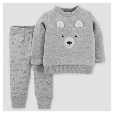 Baby Boys' 2pc Bear Pullover and Pants Set - Just One You™ Made by Carter's® Gray NB