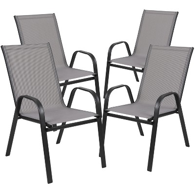 Flash Furniture 4 Pack Brazos Series Outdoor Stack Chair with Flex Comfort Material and Metal Frame