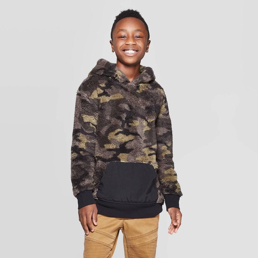 Boys' Long Sleeve Camo Print Sherpa Sweatshirt - art class Black XL, Boy's thumbnail