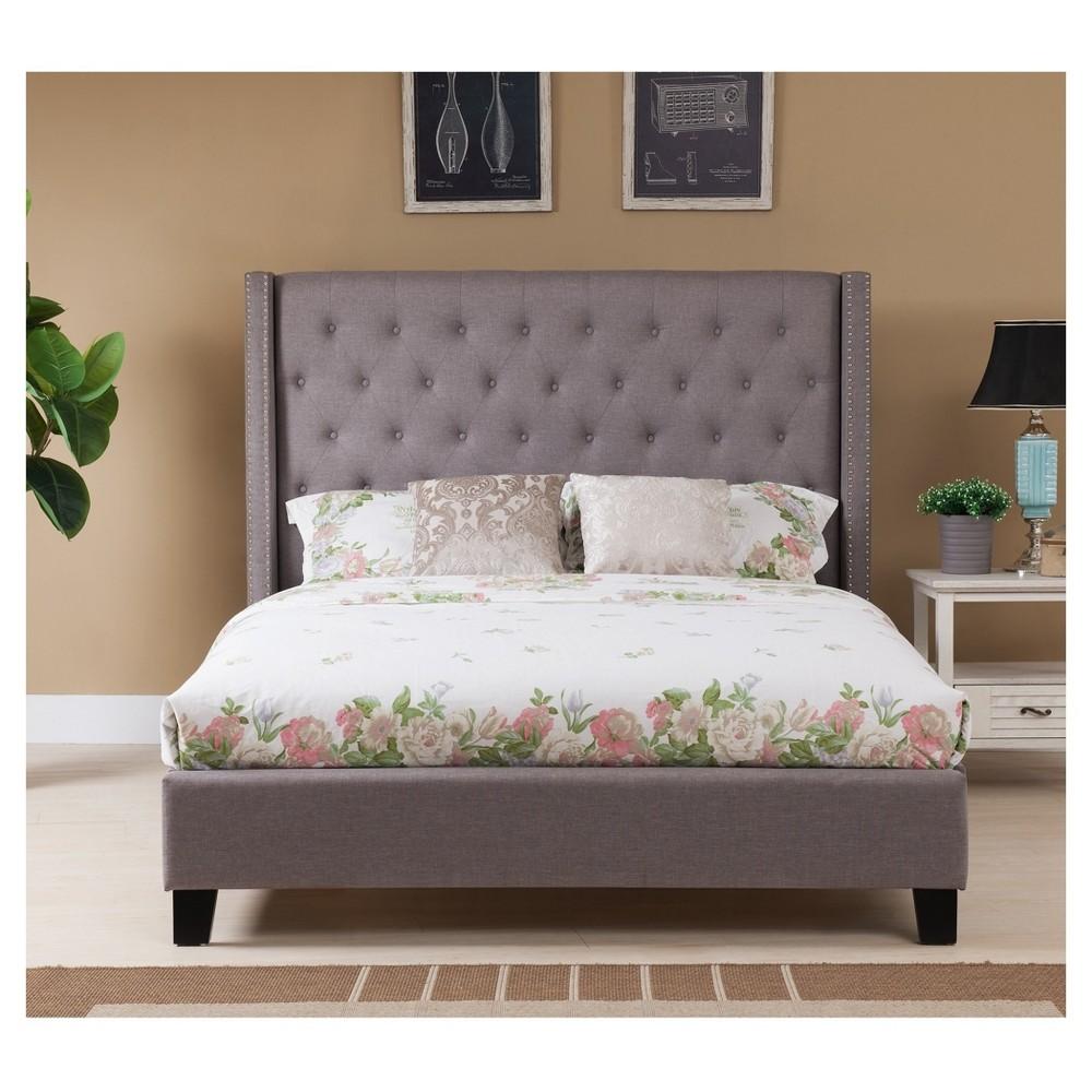 Dalton King Bed Headboard Set Charcoal - Boraam, Rich Charcoal